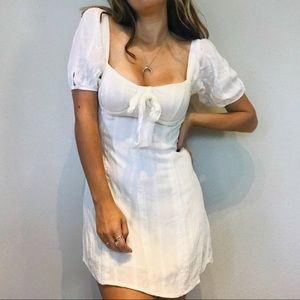 Lulu's white lace boho bow puff sleeve mini dress